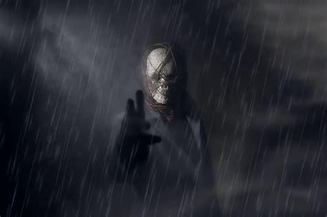 dark fantasy spooky mask rain artwork fantasy art