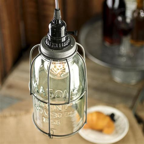 Large Mason Jar Pendant Lamp Kit Lighting Primitive Decor
