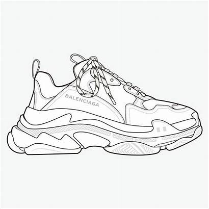 Balenciaga Triple Shoe Drawings Flat Sketches Shoes