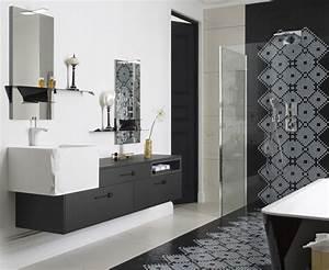 Salle De Bain Carrelage Noir : salle de bains raffinement en noir et blanc styles de bain ~ Dailycaller-alerts.com Idées de Décoration