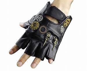 Steampunk Gothic Mens Vintage Geuuine Leather Fingerless ...