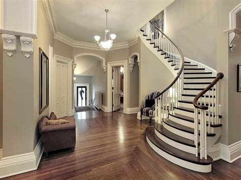 Foyer With Curved Staircase  Home Interior Design