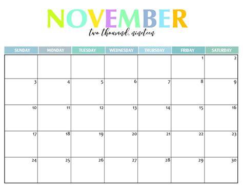 november  calendar cute magic calendar  printable