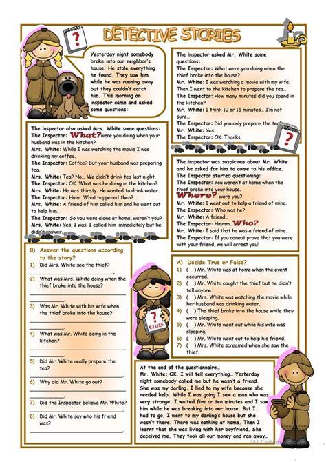 detective stories worksheet  esl printable