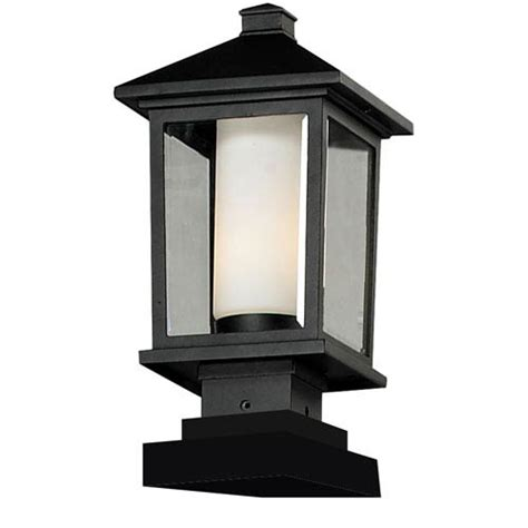 mesa one light medium black outdoor pier mount z lite pier