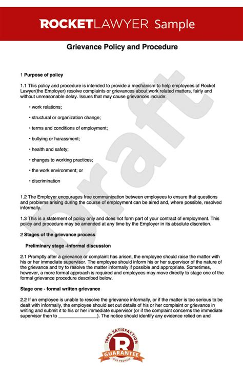 grievance procedure create  grievance policy  procedure