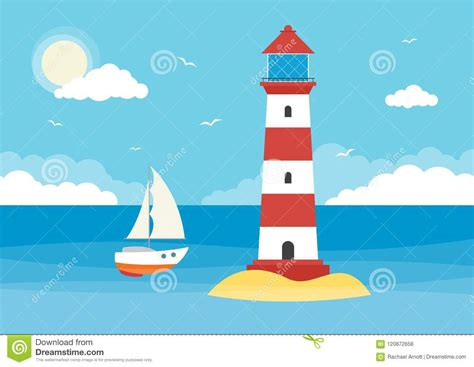 Sailing Boat And Lighthouse Stock Vector - Illustration of ...