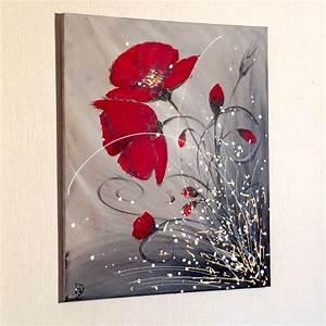Comment Faire Du Gris En Peinture : tableau acrylique abstrait amour de coquelicots coups de coeur alm pinterest tableau ~ Preciouscoupons.com Idées de Décoration