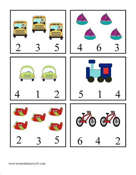 transportation activities for preschoolers on the move 153 | Clothespin Transportation Number Match