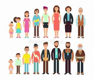 Stages Of Growth People Children, Teenager, Adult, Old Man And Woman Vector Characters Set