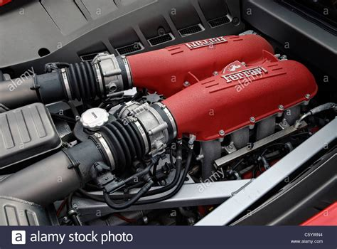 F430 Engine by Engine Bay Of A F430 Sports Car Stock Photo