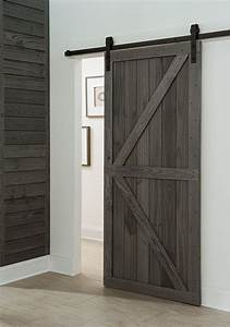 get a farmhouse look with a barn style sliding door in With barn door for interior use