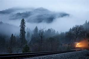 Forest trees mountains morning fog railroad train ...