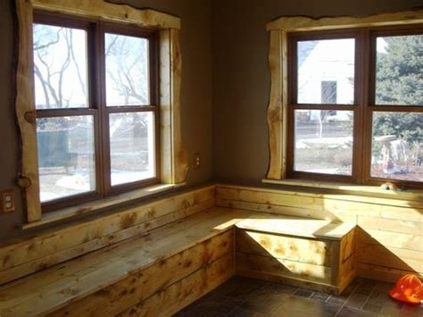 knotty pine live edge entry way bench amp window trim