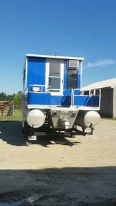 3239 Pontoon Boat W Trailer Cabin 350 Chevy Inboard
