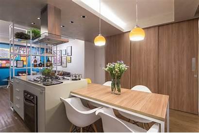 Apartment Interior Kitchen Archdaily Island Arquitetura Trama