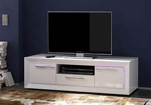 Meuble Cache Tv : meuble tv hifi design blanc laqu c cilia meuble tv ~ Premium-room.com Idées de Décoration