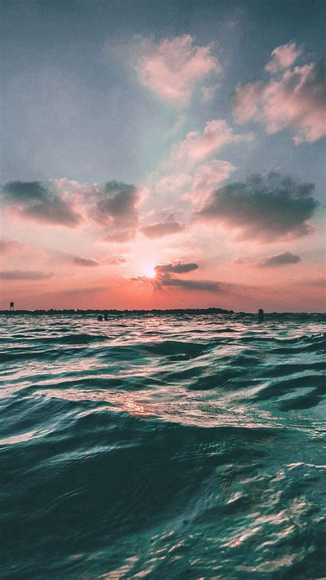 Iphone 8 Plus Wallpaper Nature by Sunset Sea Sky Summer Green Water Nature Iphone 6