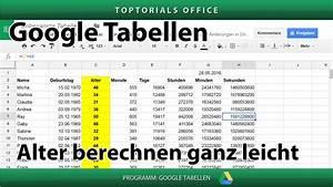 Excel Alter Berechnen Aus Geburtsdatum : alter berechnen jahre monate tage stunden minuten google tabellen spreadsheets ~ Themetempest.com Abrechnung