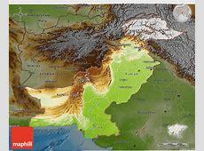 Physical 3D Map of Pakistan, darken
