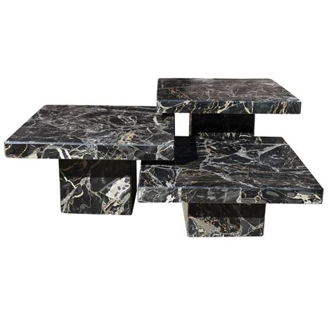 marble plinth coffee table set of three black italian marble pedestal coffee tables