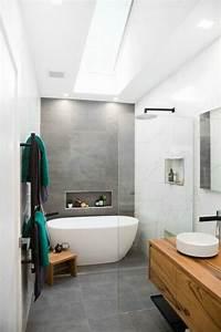 Meuble Salle De Bain A Poser : id e d coration salle de bain carrelage beton baignoire blanche poser meuble salle de bain ~ Teatrodelosmanantiales.com Idées de Décoration