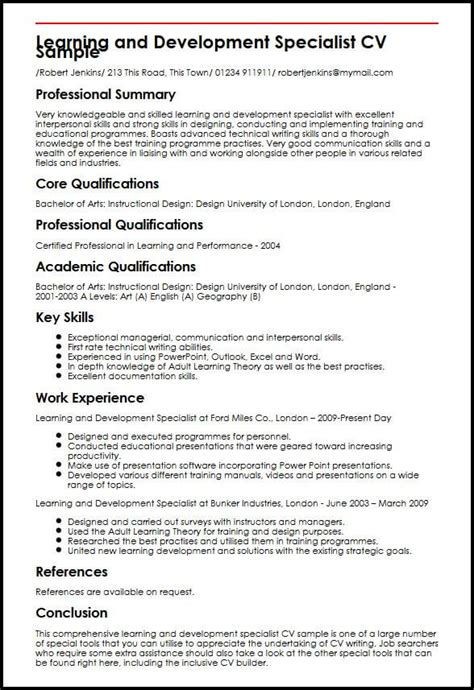 How To Write A Cv Exle by Learning And Development Specialist Cv Sle Myperfectcv