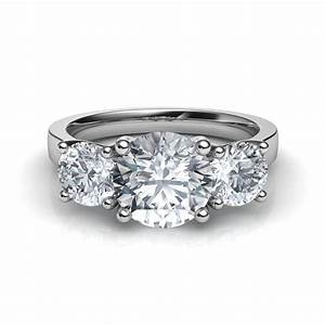 three stone trellis engagement ring With stone wedding rings