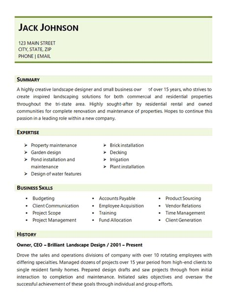 Resume Running Own Business by Landscaping Resume Exle Landscape Design Business