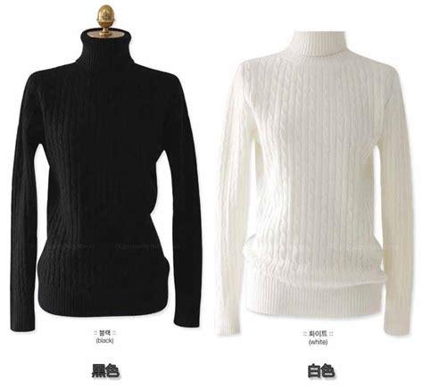 Wk100556 Baju Import baju turtleneck rajut warna putih import myrosefashion