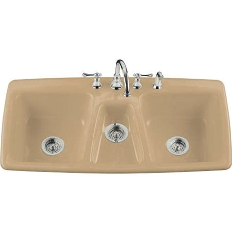 what is a triple bowl sink used for kohler triple basin cast iron kitchen sink from the