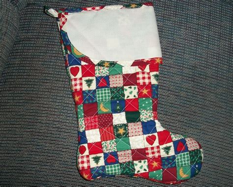 patchwork quilted christmas 15 quot cross stitch stocking