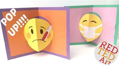 get well soon pop up card template emoji diy easy pop up card get well soon