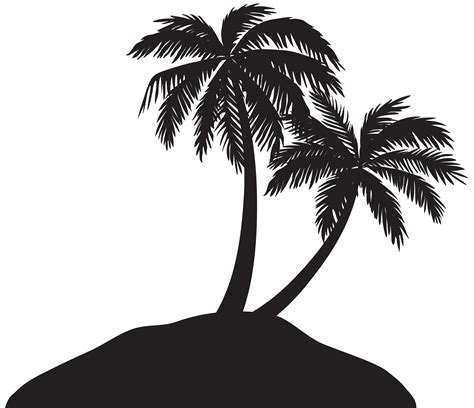 palm tree clipart black and white no background island with palm trees silhouette png clip image
