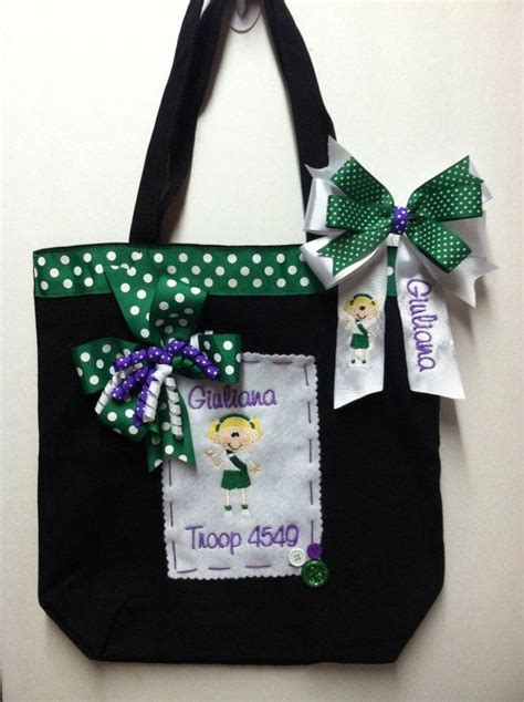 boutique personalized monogrammed junior girl scout tote
