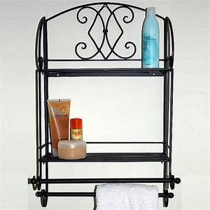 Black metal bathroom shelf towel rail unit for Metal bathroom shelving unit