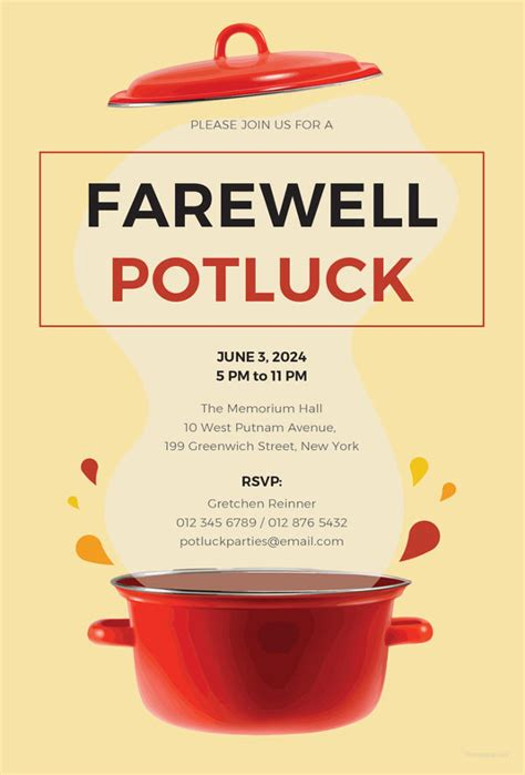 farewell potluck invitations jpg vector eps ai