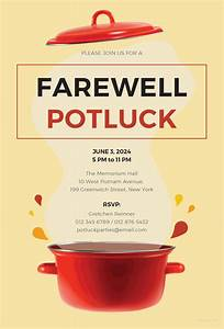 Retirement Party Program Template 14 Farewell Potluck Invitations Jpg Vector Eps Ai