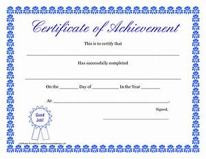 doc printable templates certificates of achievement With template for a certificate of achievement