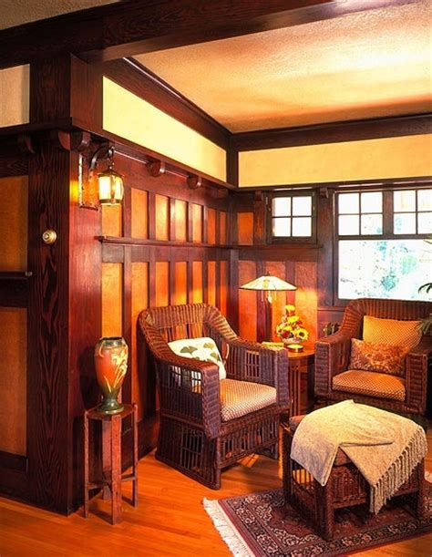 Arts And Crafts Home Interiors by Sitting Room Den With Wicker Furniture In The Arts Crafts