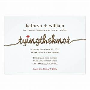 Tying the knot modern wedding invitation zazzle for Wedding invitation wording tie the knot