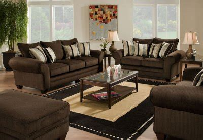 brown fabric casual sofa loveseat set wplush flared arms