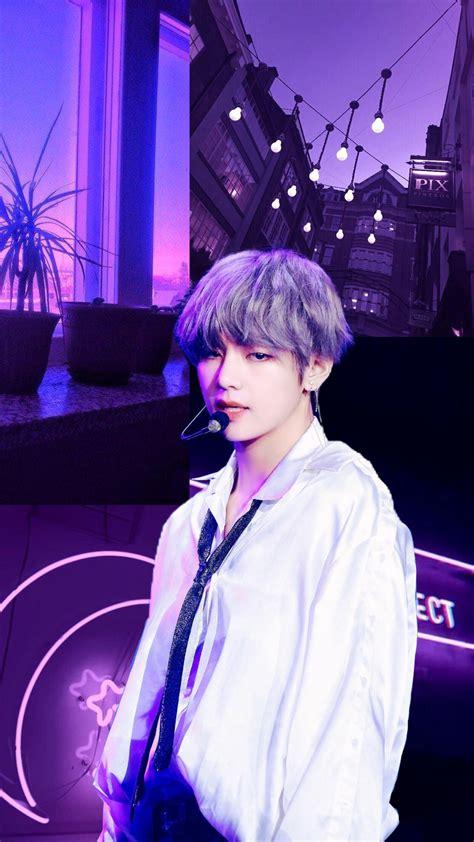 freetoedit bts kpop wallpaper taehyung v purple aes