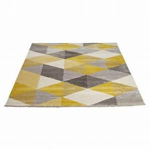 Tapis Bleu Scandinave : tapis design style scandinave rectangulaire geo 230cm x 160cm jaune gris beige ~ Teatrodelosmanantiales.com Idées de Décoration