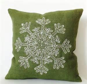Christmas Pillow -Snowflake -Green Throw Pillows -Burlap Pillows Cover