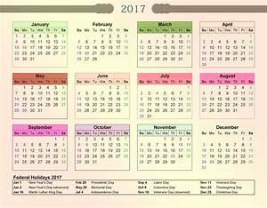 2017 Calendar with Bank Holidays