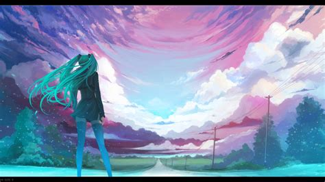 Graphic Anime Wallpaper - anime vocaloid hatsune miku sky horizon