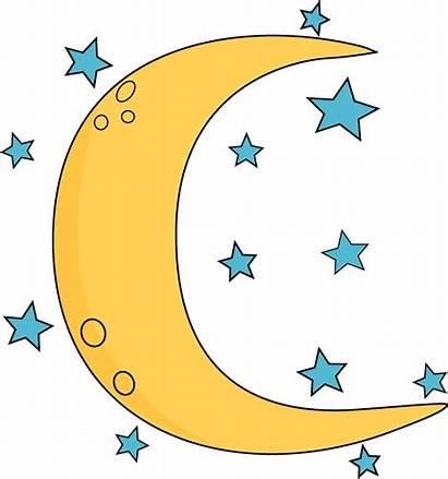 Space Moon Stars Crescent Clip Graphics