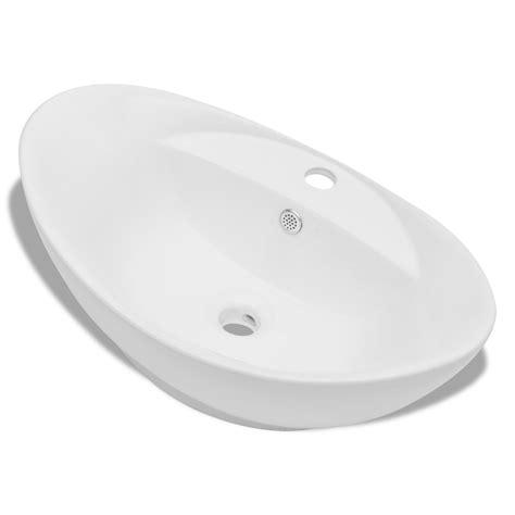 amazon si鑒e vidaxl si keramični ovalni umivalnik z izlivnim sist in luknjo za pipo