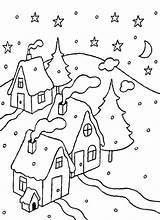 Coloring Night Snowy Snow Drawing Getcolorings Printable Getdrawings sketch template